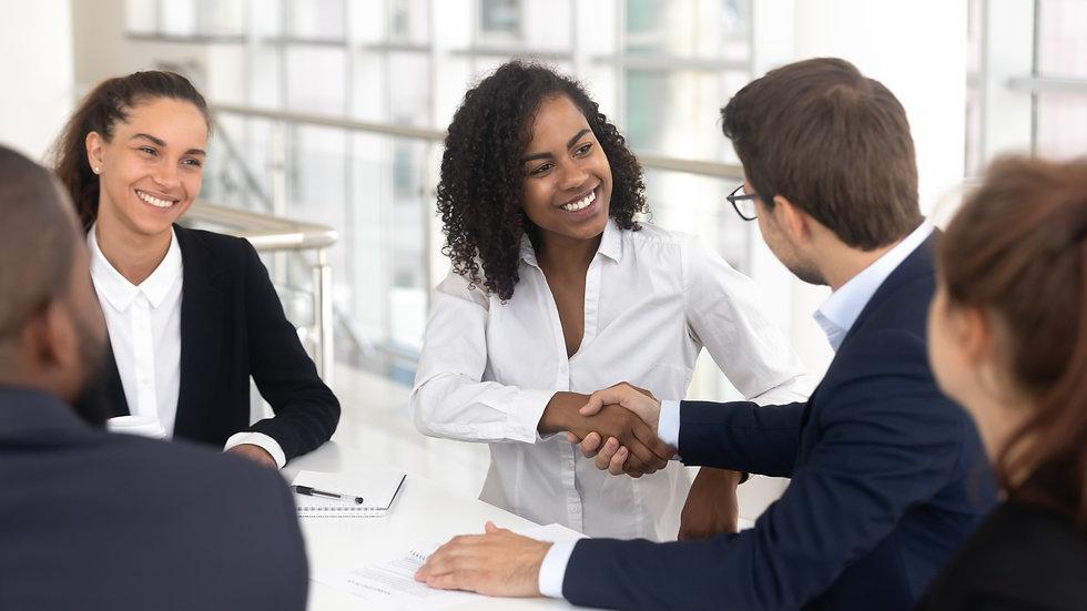 Multiracial businessman businesswoman sh