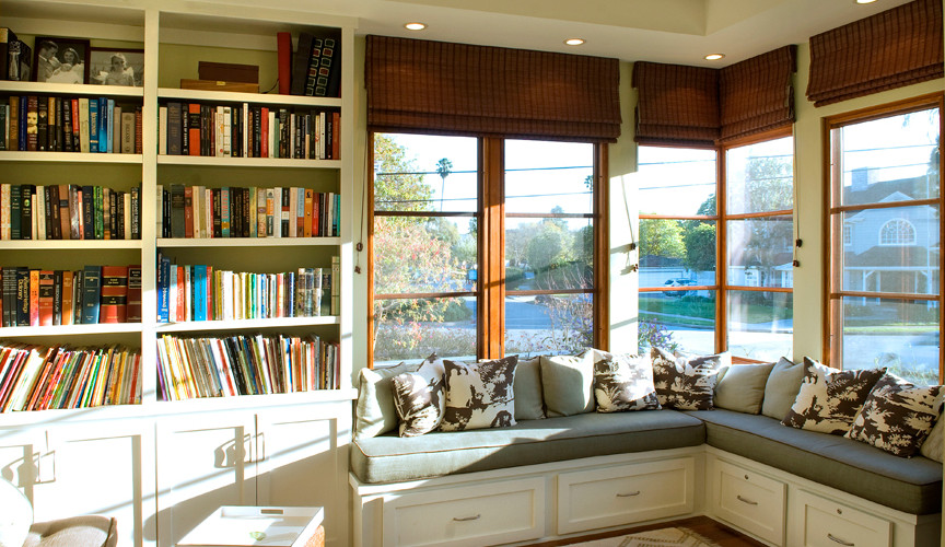 Custom Library with Built In Window Seat