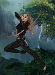 Elven Archer Digital Painting