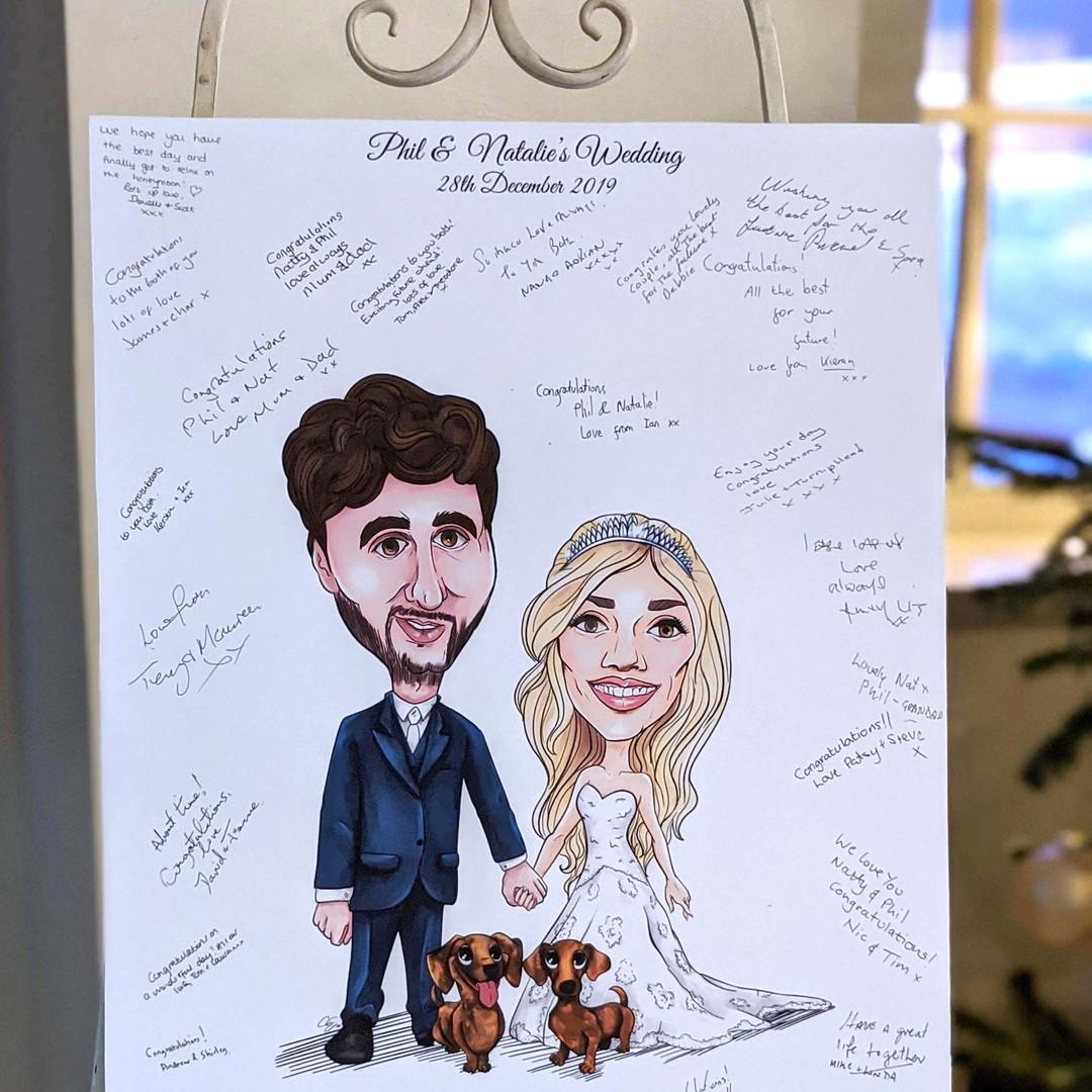 Caricature Wedding Signature Board