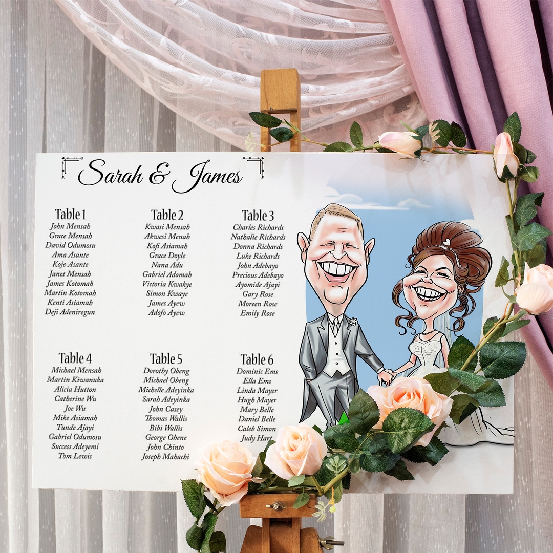 Caricature Wedding Seating Plan