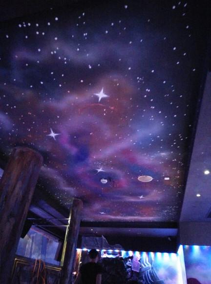 Alien theme ceiling painting