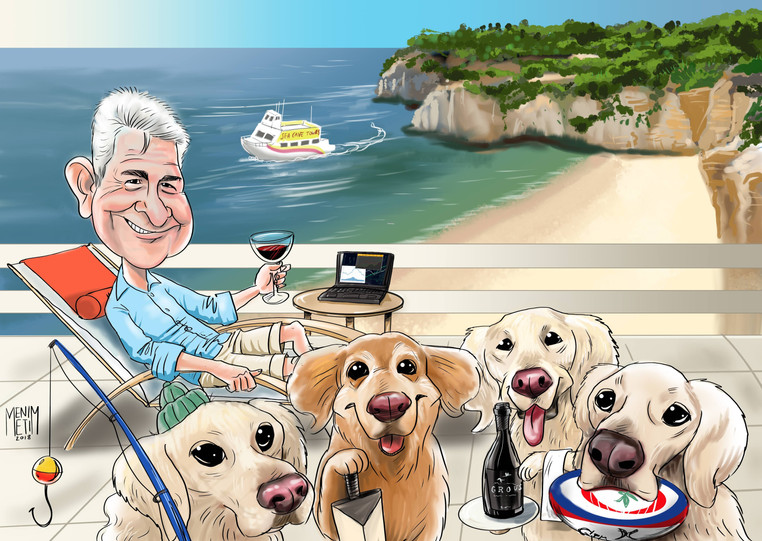 Colour Caricature with dogs