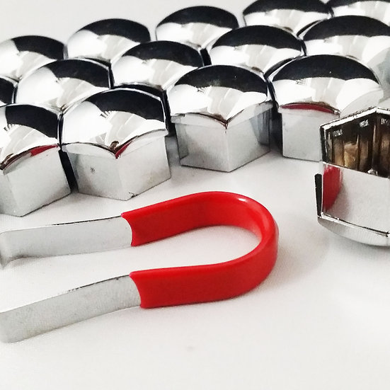 17mm Chrome Nut Covers. Set of 20 with Removal Tweezer