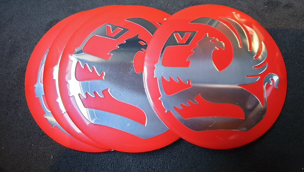 65mm Vauxhall Griffin Red Centre Cap Sticker Badges to fit BMW Alloy Whee