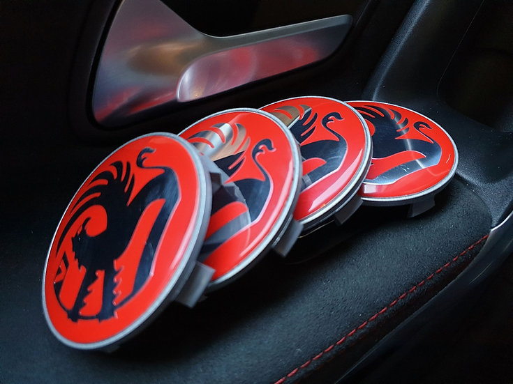 Red Griffin Vauxhall Vivaro Centre Caps to fit BMW Alloy Wheels 65mm to 68mm