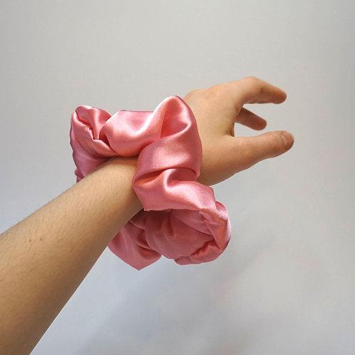 Handmade XL Pink Silky Satin Scrunchie