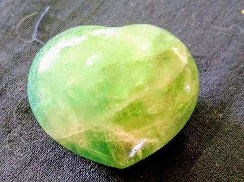 """Green Fluorite Heart Stone 1 3/4"""""""