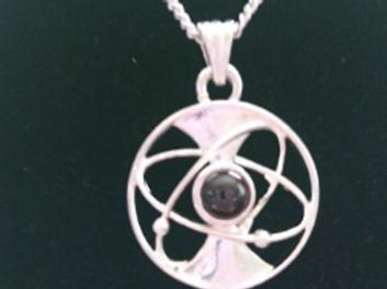 "Silver Electroplating 18"" Necklace w/ Garnet Energy Pendant"