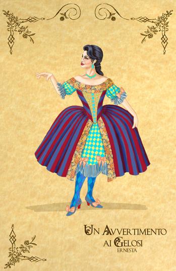 "Costume Rendering for Ernesta from Manuel Garcia's opera ""Un Avvertimento ai Gelosi"""