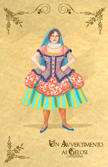"Costume Rendering for Sandrina from Manuel Garcia's opera ""Un Avvertimento ai Gelosi"""