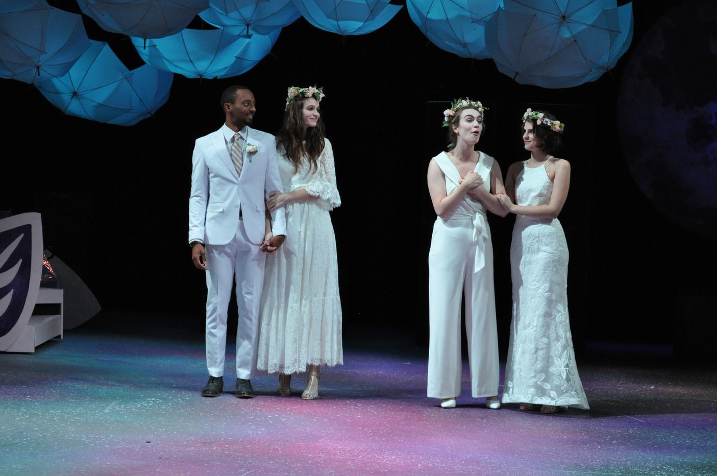 Demetrius, Helena, Lysander, and Hermia