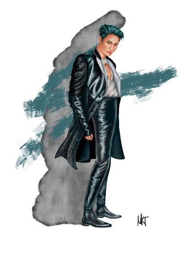 Fashion Illustration of Kim Jongin, stage name Kai, from the Korean music group SuperM