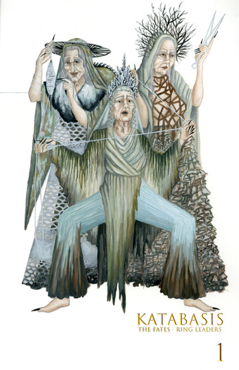 Original concept for a modern Greek mythology cirque style show, characters the three fates