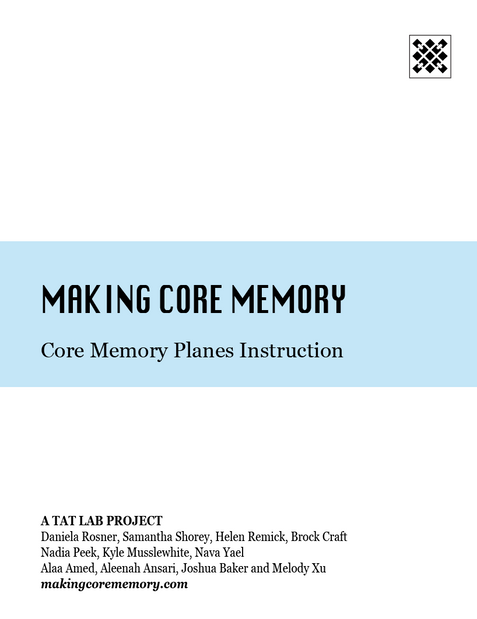 Core Memory Planes Instruction Cover