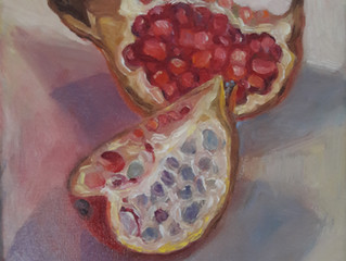 Verkocht! Granaatappel, olieverf op doek, 20 x 20 cm