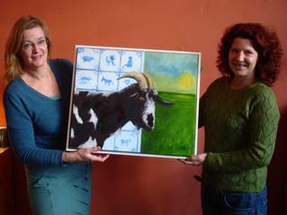 """Het schilderij """"Bok"""" gaat met Monique, de hoogste bieder, naar haar huis in Italië!"""