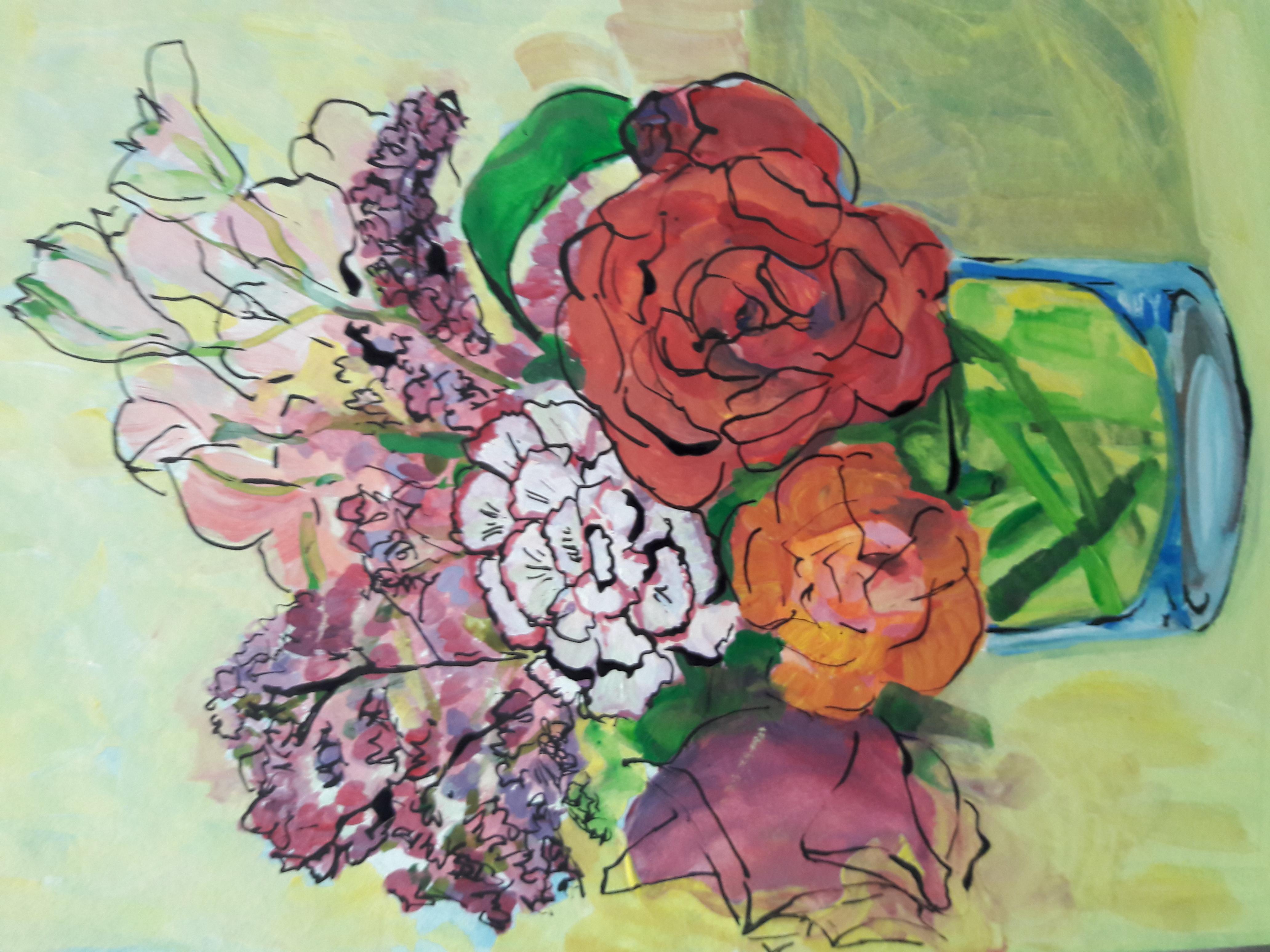 tekening bloemstilleven gouache pen en i