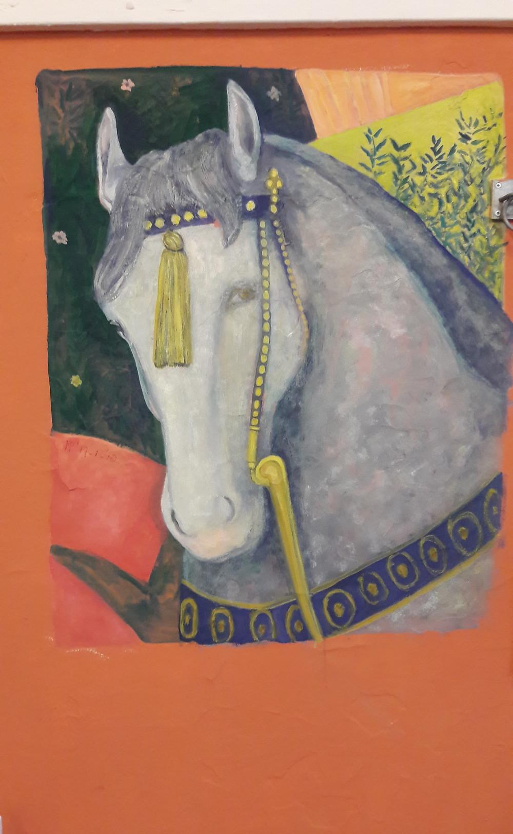Eindelijk een eigen paard! Een muurschildering in mijn atelier, gemaakt met gouache, n.a.v. een detail van een fresco van Andrea Mantegna, 1431, La chambre des epoux