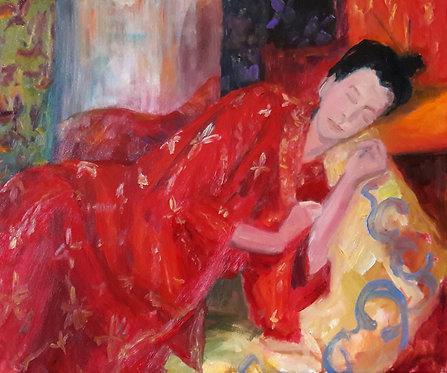 Meisje in kimono, olieverf op doek, 50 x 60 cm