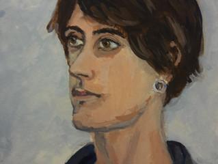 Kleine portretten, 12,5 x 18 cm, tempera op aquarelpapier. Het is moeilijk om het ware formaat op fo