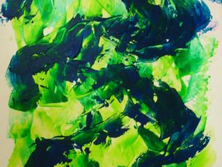 """Workshop """"Stoeien met acrylverf""""; hier een aantal studies van Lineke"""