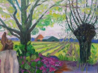 Dit schilderij heb ik gemaakt (en verkocht!) tijdens de Tuinronde Wieringen.