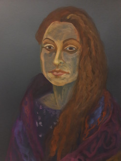 portret op donker papier