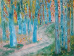 blauwe bomen op de heide