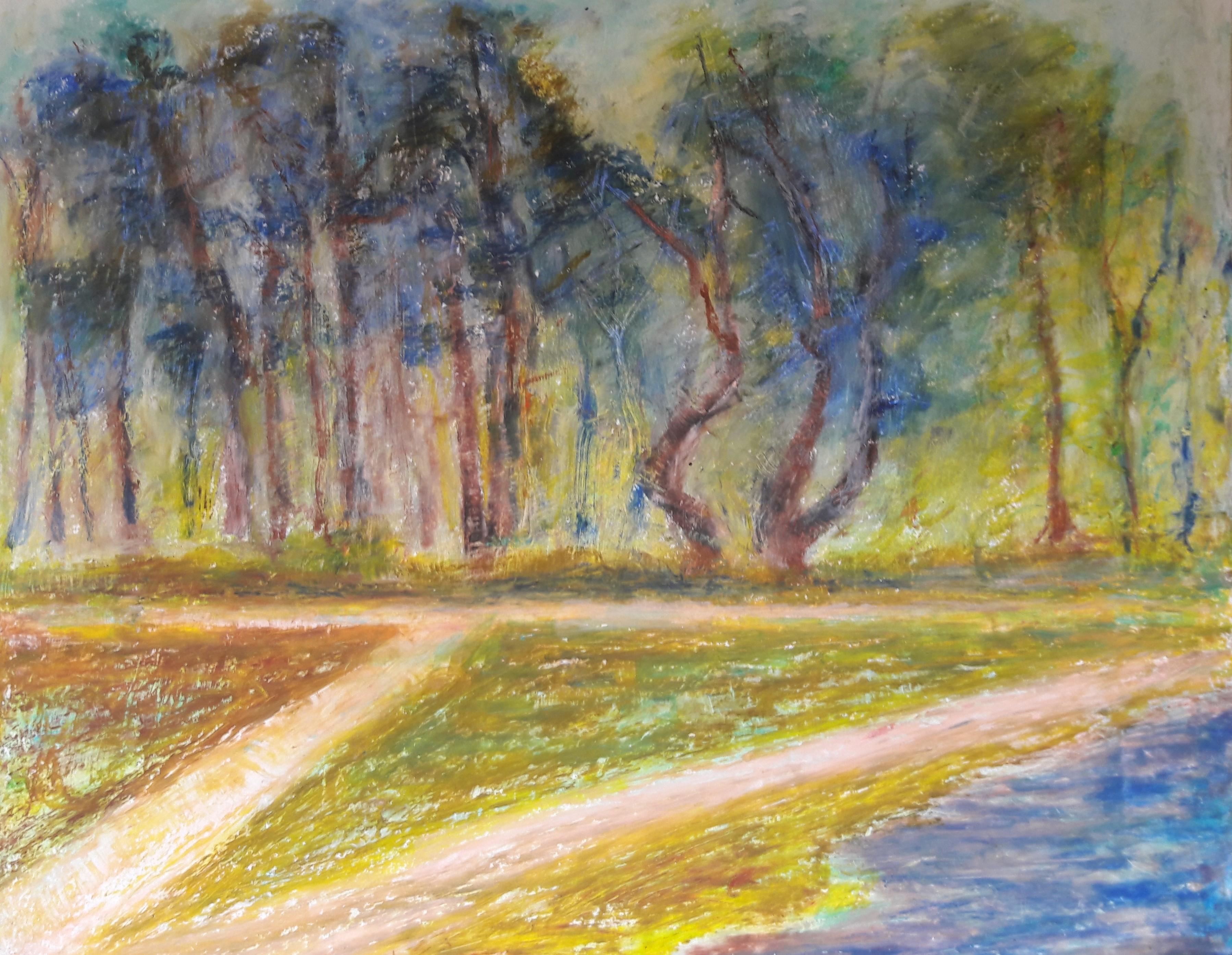 oliepastel heide bomen
