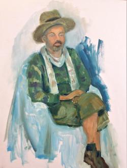 portret zittend model zonnehoed