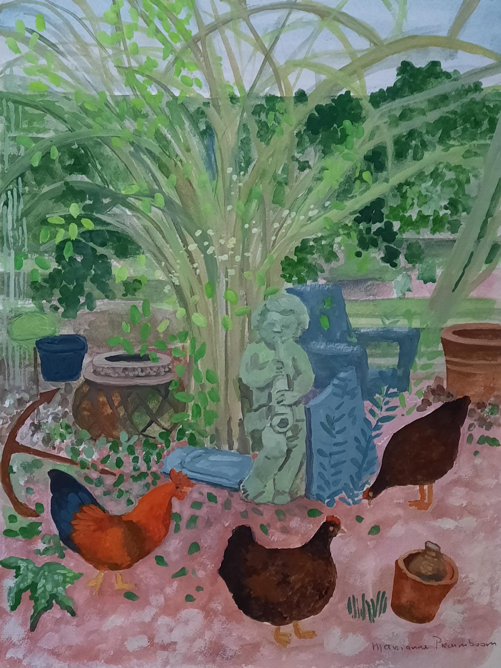 gouache tuin met kippen