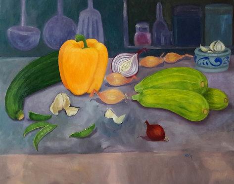 Groentenstilleven met gele paprika