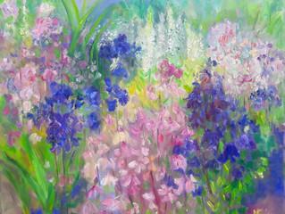Twee schilderijen gemaakt tijdens het weekend van de Tuinronde Wieringen.