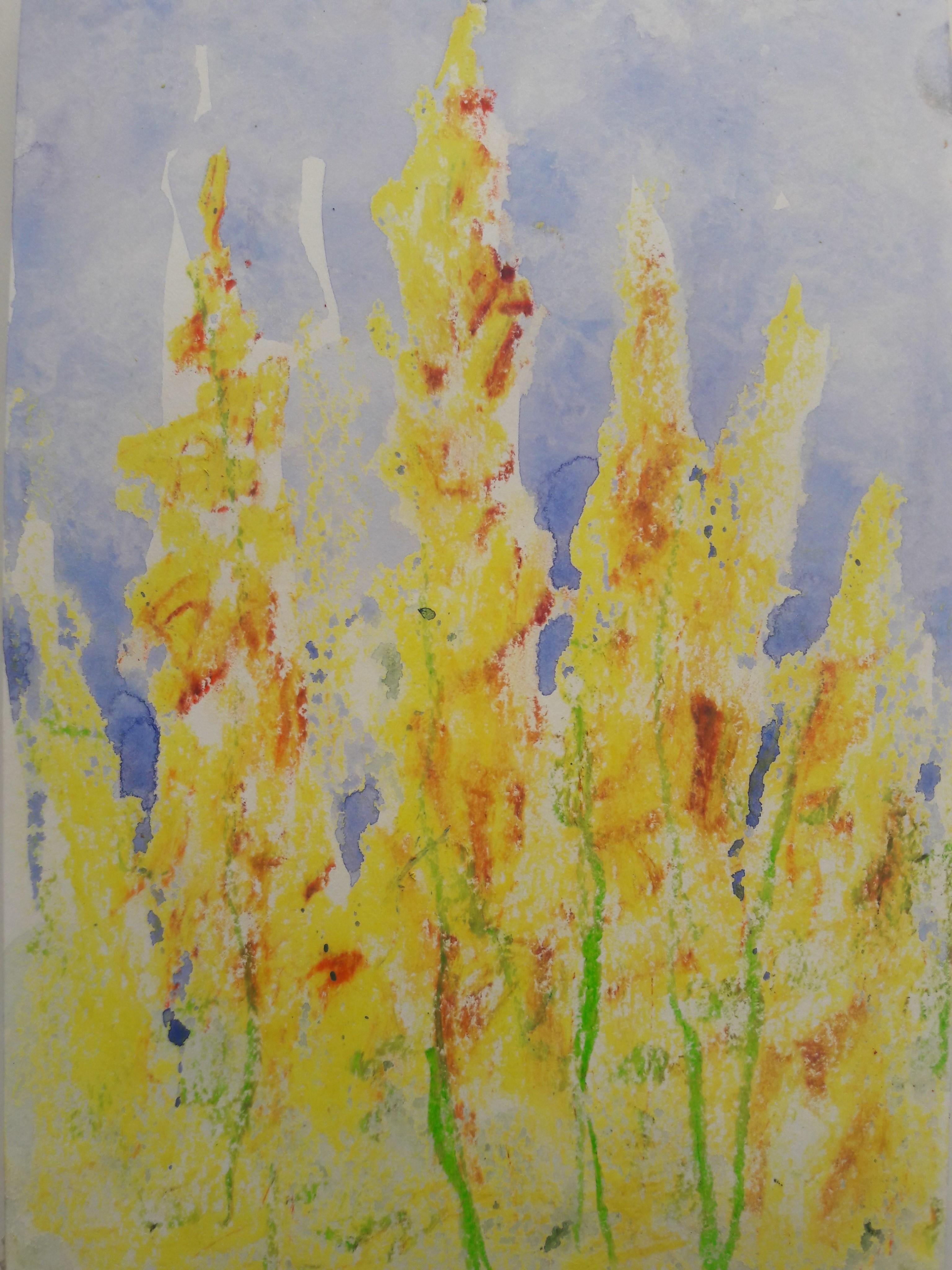 Tekening gele bloemen