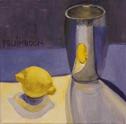 stilleven citroen paars