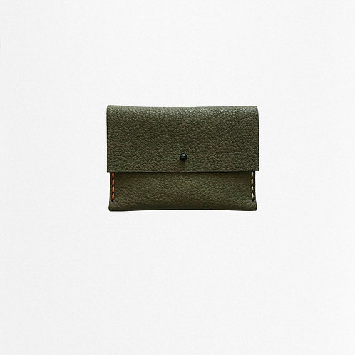 Green cardholder made of bio leather from Disselhoff with contrast stitching