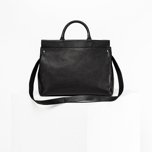 black bio leather shopper from Disselhoff with stainless steel hardware