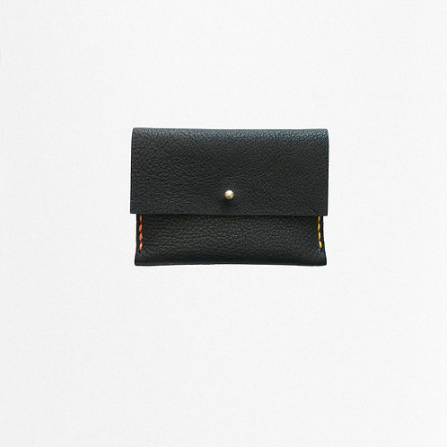 Black cardholder handmade of bio leather with contrast stitching