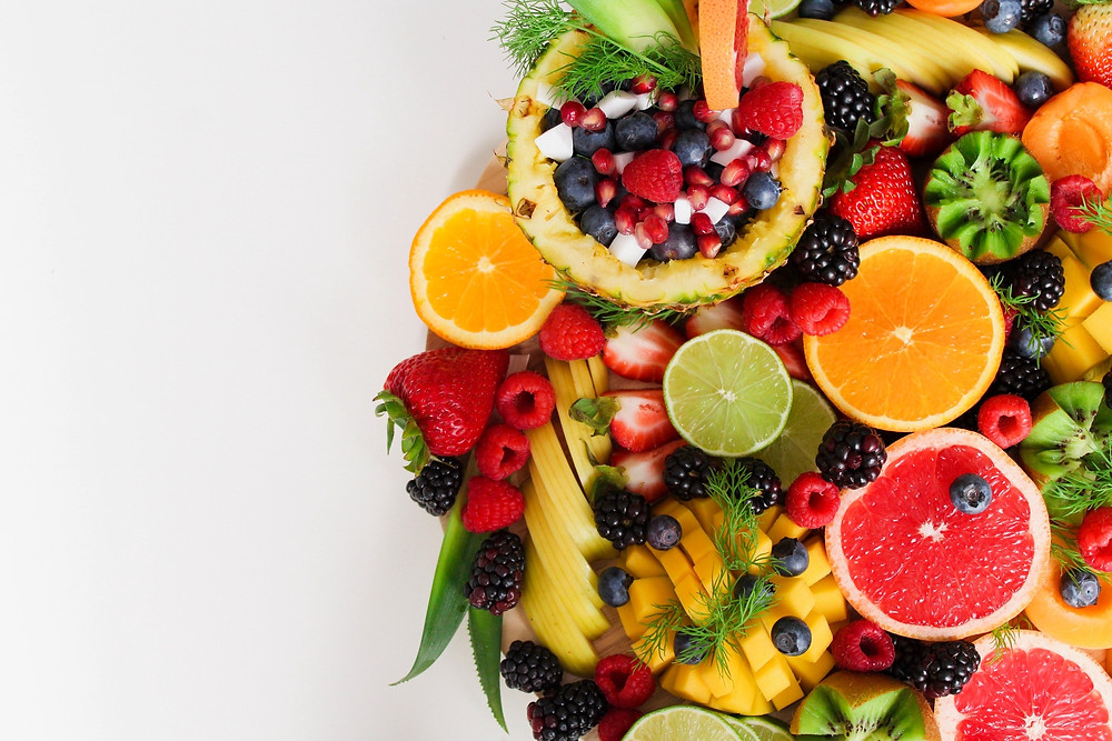 colorful plate of assorted fruit
