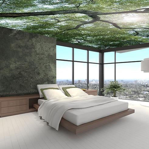 decoration plafond chambre dskamala impression numérique arbre nature sophie desplat