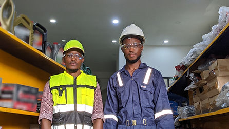 Men wearing personal protective equipment (PPE)