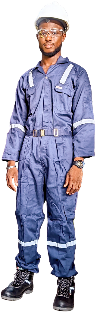 Man wearing personal protective equipment (PPE)