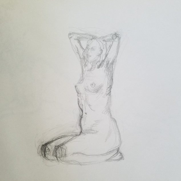Seated Kneeling Woman Study By Gina Rizzo