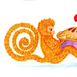 Redheaded Monkey with Pie