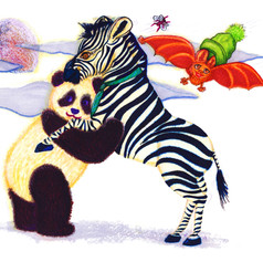 Zebra and Panda Dancing