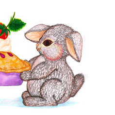 Bunny Rabbit with Pie Gift