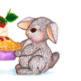 Bunny Rabbit with Pie Gift