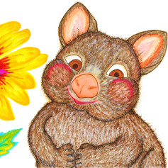 Wombat and Sunflower