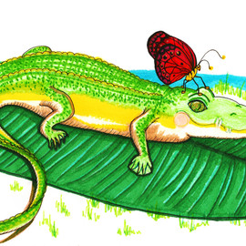 Alligator with a Butterfly